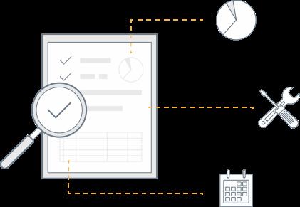 Planilha de auditoria e ícones dos módulos.