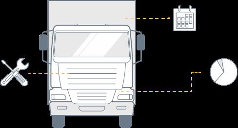 Caminhão e ícones dos módulos.